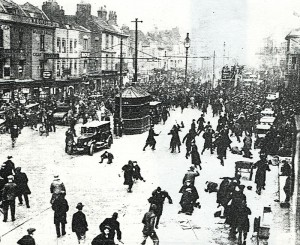 Police attack on an unemployed demo in Old Market in 1931.