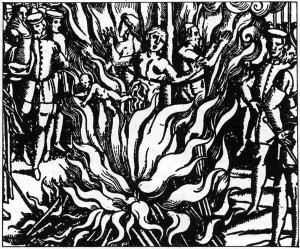Three women burnt alive in Guernsey. Anonymous 16th century engraving.