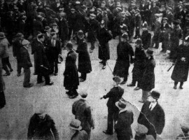 """Bristol Guardian & Gazette. 27th February 1932. """"Bristol police preparing for the baton charge during the disturbance on Old Market, Bristol. Some of the officers already ahve their batons drawn."""""""
