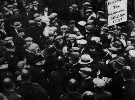 """Western Daily Press February 10th 1932. """"Police in conflict - A srticking picture of the scene in Old Market Street, Bristol yesterday when the conflict between police and unemployed was at its height. Banners similar to that on the right were broken up and used as missiles"""""""