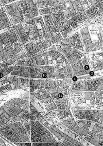 1. Union Street: Location of police baton charge on Welsh Hunger marchers and their Bristolian supporters on evening of September 7th 1931. 2. Old Market Street/Carey's Lane: Site of police cordon diverting NUWM from marching to the Council House on February 9th 1932. Followed by police baton charge. 3. The Haymarket: Known these days as the Horsefair this park was a regular assembly point for NUWM marches. Scene of disturbance on the evening of February 9th 1932. 4. Castle Street/Old Market Street: Site of the police cordon and flashpoint on NUWM demonstration February 23rd 1932. 5. Empire Cinema, Carey's Lane: Ambush from behind on NUWM marchers by police secreted in the annex on February 23rd 1932. 6. Old Market Street: Police baton charge on NUWM marchers on afternoon of February 23rd 1932 immortalised in the photograph on the front cover of this pamphlet. 7. Lawfords Gate: Centre of serious 'rioting' on afternoon of February 23rd 1932 which spread into St. Judes and St. Phillips. 8. Welsh Back: The NUWM held many evening rallies here including February 23rd 1932. 9. Bridge Street: Stampede by hundreds of Bristolians supporting the NUWM marchers on evening of February 23rd 1932. 10. Castle Street: Major shopping street, scene of disturbance on the evening of February 23rd 1932 and location of the police ambush on east Bristol NUWM demonstrators returning home on the night of June 9th 1932 (70 injured). 11. Peter Street: Site of the Public Assistance Committee Office, scene of many NUWM pickets and demonstrations. 12. Marybush Lane: The NUWM held their weekly meetings in the School Room. 13. Corn Street: Location of the City Council building. 14. The Ropewalk: Common meeting point for NUWM demonstrations. 15. Central Police Station, Bridewell. 16. West Street: The NUWM office was at No. 78.