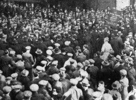"""Western Daily Press 24th February 1932. """"A Graphic picture of the encounter between Bristol police and unemployed in Old Market, Bristol, yesterday. It clearly shows the line of police, with drawn batons, parting the crowd and pressing them back."""""""