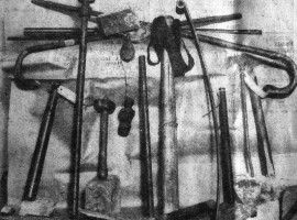 "Western Daily Press. 25th February 1932. ""Weighty Evidence! - A selection of the weapons taken by police from the rioters in Old Market, Bristol, on Tuesday. The Chief Constable had a collection in his room at Central Police Station."""