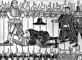 A woodcut of the execution of Chales I