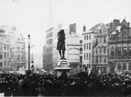 Edward Colston's statue being unveiled on 13th November 1895.