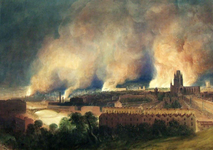 Precision strikes by the riotous mob of 1831 (W. J. Muller: Bristol City Museum and Art Gallery)