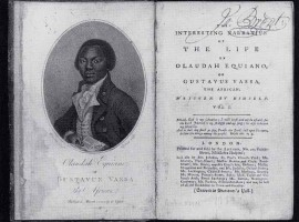 The frontispiece and title pages of the first London (1789) and New York (1791) editions of The Interesting Narrative by Olaudah Equiano.
