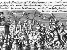 The start of the 'Great Rebellion'. Rioting at a church service in Scotland after the angry reaction from Jenny Geddes to use of the Anglican service in St Giles Cathedral in 1637.