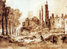 West side of Queen Square Bristol the day after the dreadful conflagration, 1831, J. B. Pyne