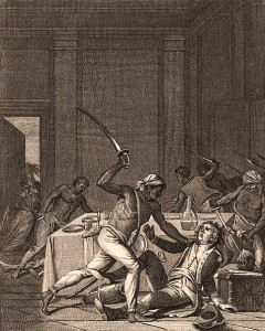 A Jamaican slave revolt, 1759. From Histoire d'Angleterre by David Francois.