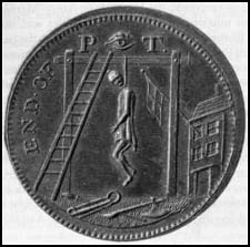Trade token produced by Thomas Spence showing William Pitt on the gallows (c. 1800)
