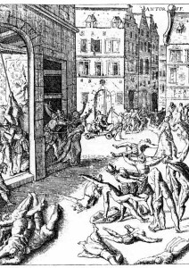 The torture of the inhabitants of Antwerp by Spanish troops under Fernando Alvarez de Toledo, Duke of Alba, after the conquest of the city in 1756.