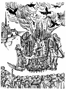 The public burning of Farther Urban Grandier for signing a pact with the devil. From a contemporary drawing. Loudun, 1634.
