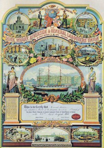 Dock, Wharf, Riverside and General Labourers Union membership certificate, 1910 .