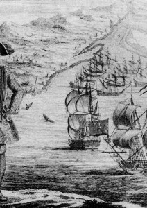 Captain Bartholomew and eleven captured merchant vessels off the coast of West Africa. From Captain Charles Johnson's A General History of the Robberies and Murders of the Most Notorious Pyrates, 1724.