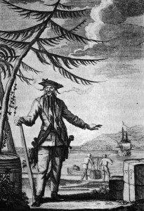 Edward Teach a.k.a Blackbeard; Captain Charles Johnson's A General History of the Lives and Adventures of the Most Famous Highwaymen, Murderes, Street Robbers &c., 1734.