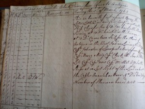 A page from the log book of the Black Prince, a slave ship sailing out of Bristol in 1763. This page notes that there are 488 slaves on board.