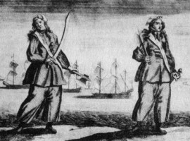 Anne Bonny & Mary Read; from Captain Charles Johnson's A General History of the Robberies and Murders of the Most Notorious Pyrates, 1724.