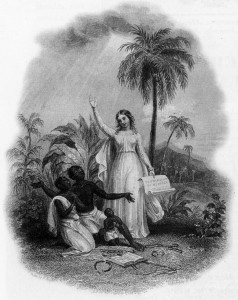 "Grateful slaves receive the ""gift"" of emancipation from Britannia. 1838."
