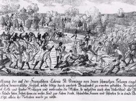 Fire in Saint-Domingo 1791, German copper engraving.