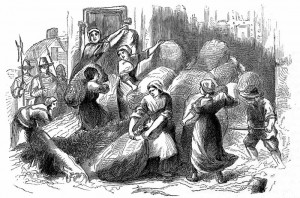 Widow Kelly* and others barricading the Frome Gate Against Prince Ruppert at the Siege of Bristol 1643. From Bristol Past and Present Vol III by J. F. Nicholls and John Taylor 1882.