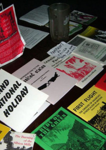 Pamphlets on the book stall.