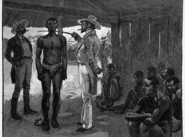 "Spanish ""gentlemen"" selecting slaves in Cuba, 1837."