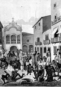 Gate & Slave Market at Pernambuco, Brazil, 1821.