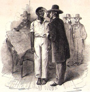 """Dealers inspecting a Negro at a slave auction in Virginia"", 1861"