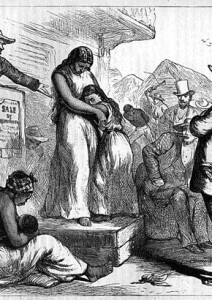 An imagined picture of a slave auction used as propaganda before the American Civil War.