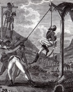 A slave rebel army hanging French officers in St. Domingue. From Marcus Rainsford, An Historical Account of the Black Empire of Hayti (London, 1805)