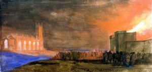 The Bristol Riots: The Burning of the New Gaol with St. Paul's Church, Bedminster, 1831, W. J. Müller