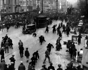 Police baton charge unemployed workers march on Old Market Street, February 23rd 1932.