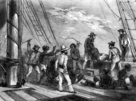 Slaves being moved to the coast of Africa destined for St. Domingue, 1786.