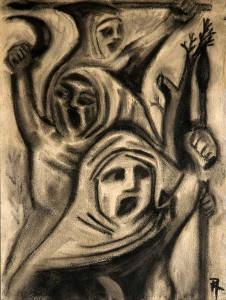 Peasants Revolt. 2008. Charcoal on paper.