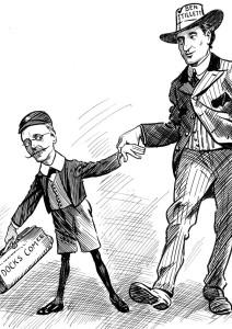 Cartoon with Ben Tillett and Alderman Henry W. Twigg.
