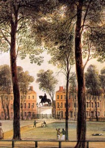 Queen Square Bristol from North West Corner, 1827, T. L. Rowbotham