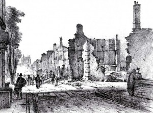 North side of Queen Square Bristol the morning after the Dreadful Conflagration, 1831, J. B. Pyne Queen Square North Side In Ruins