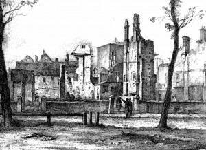 West side of Queen Square Bristol the morning after the Dreadful Conflagration, 1831, J. B. Pyne