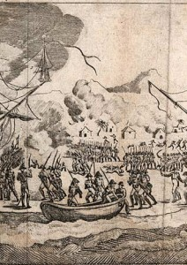 Warships in the bay, buildings burning and general chaos on shore, as the French military are chased from Saint Domingue, 1820.