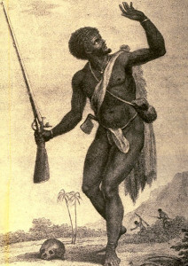 A slave rebel from 'Narrative of a Five Years' Expedition, against the revolted Negroes of Surinam (between French Guiana and Guyana). from the year 1772, to 1777, by John Gabriel Stedman.