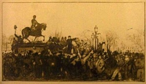 A postcard of the riots in Queen Square. Courtesy of Bristol Central Reference Library refandinfo@bristol.gov.uk