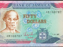 'Rt. Excellent Samuel Sharpe, National Hero' on the Bank of Jamaica $50 note. Sharpe was an educated town slave who became the leader of the 1831 Jamaica uprising.