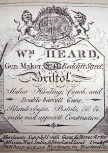 A Bristol gun maker's business card. From Bristol Central Reference Library. refinfo@bristol.gov.uk
