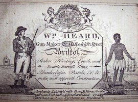 A Bristol gun maker's business card. From Bristol Central Reference Library. refandinfo@bristol.gov.uk