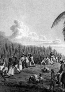 Slave Market on the Kambia River, Coast of Africa. A woodcut from an oil painting from 1840.
