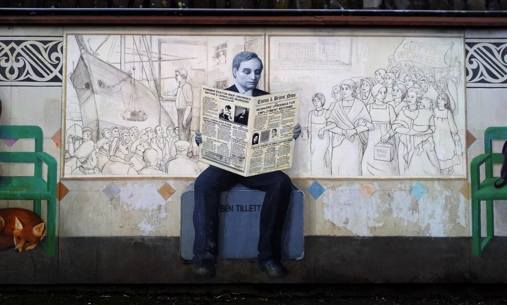Bill Guilding's mural on Stapleton Road Railwway Station, Bristol.
