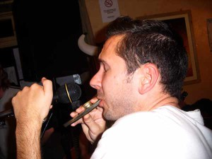 Quiffey blows his kazoo at The Seven Stars.