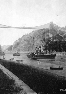 Clifton Suspension Bridge with a steam tug towing a steamer.