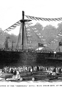 The launch of the Demerara Royal Mail steam-ship